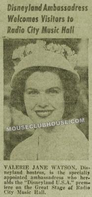 """Valerie Watson, Miss Disneyland, 1962, """"Disneyland News"""" clipping"""