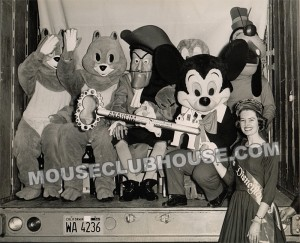 "Valerie Watson, with the characters of Walt Disney's ""Disneyland, USA"" stage show at Radio City Music Hall"