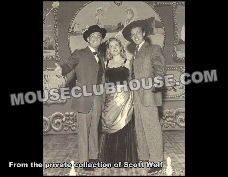 The original cast of the Golden Horseshoe Revue (Donald Novis, Judy Marsh, Wally Boag)