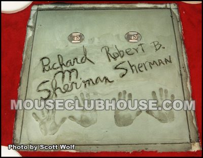 The Sherman Brothers handprints after a reporter stepped in it the first time