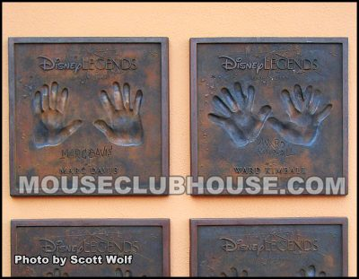 "Marc Davis' handprints next to Ward Kimball's ""six-fingered"" handprints gag"