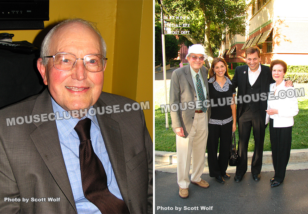 Blaine Gibson (left), On the Disney Studios lot, Blaine Gibson, Shani Wolf, Scott Wolf, Harriet Burns (right)