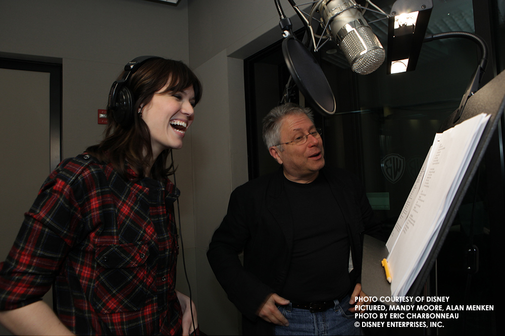 Mandy Moore and Alan Menken, recording for Disney's Tangled