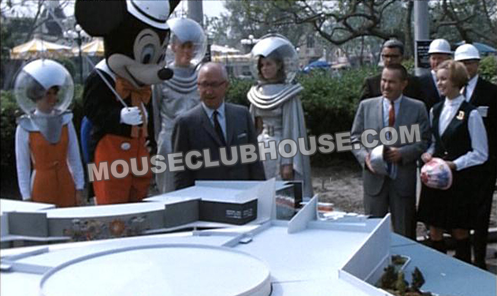 1967, Roy O. Disney, Jack Lindquist, and 1967 Disneyland Ambassador Marcia Miner stand by a model of the new Tomorrowland