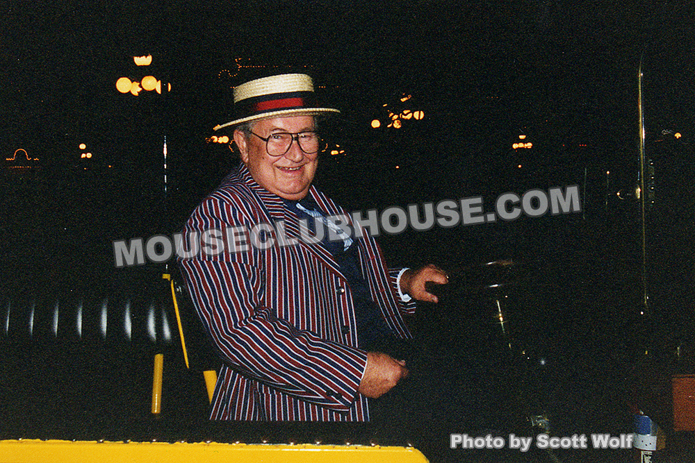 During the Disney employee Christmas parties, you never knew who might be working or where they'd be. I took this photo in 1993 when Jack Lindquist was driving passengers on a Main Street vehicle. The party hadn't started and Jack was just sitting in the vehicle waiting. I was in, since I was also going to work on an attraction and I asked him for a ride. This was the first time I got to talk with Jack, being driven by him up and down Main Street in Disneyland.
