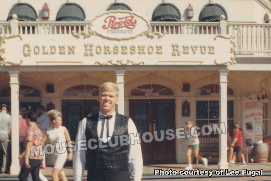 Lee Fugal in front of Disneyland's Golden Horseshoe