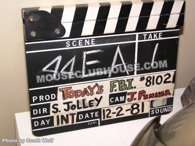 "This clapboard is from one of the films that Stan directed, ""Today's FBI"""