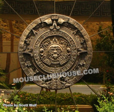Mayan calendar carved out of redwood
