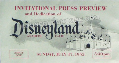 Stan's ticket to the opening of Disneyland on July 17, 1955. Click below to hear why Stan did not attend the grand opening