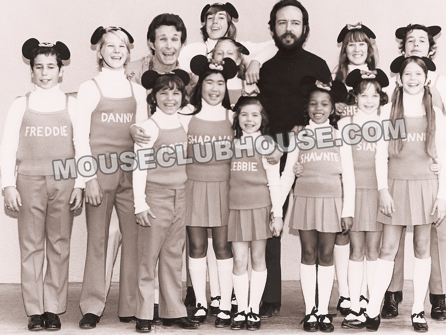 Larry Billman, (top left) with the cast of the Disneyland version of the Mickey Mouse Club, which led to the 1977 revised television edition