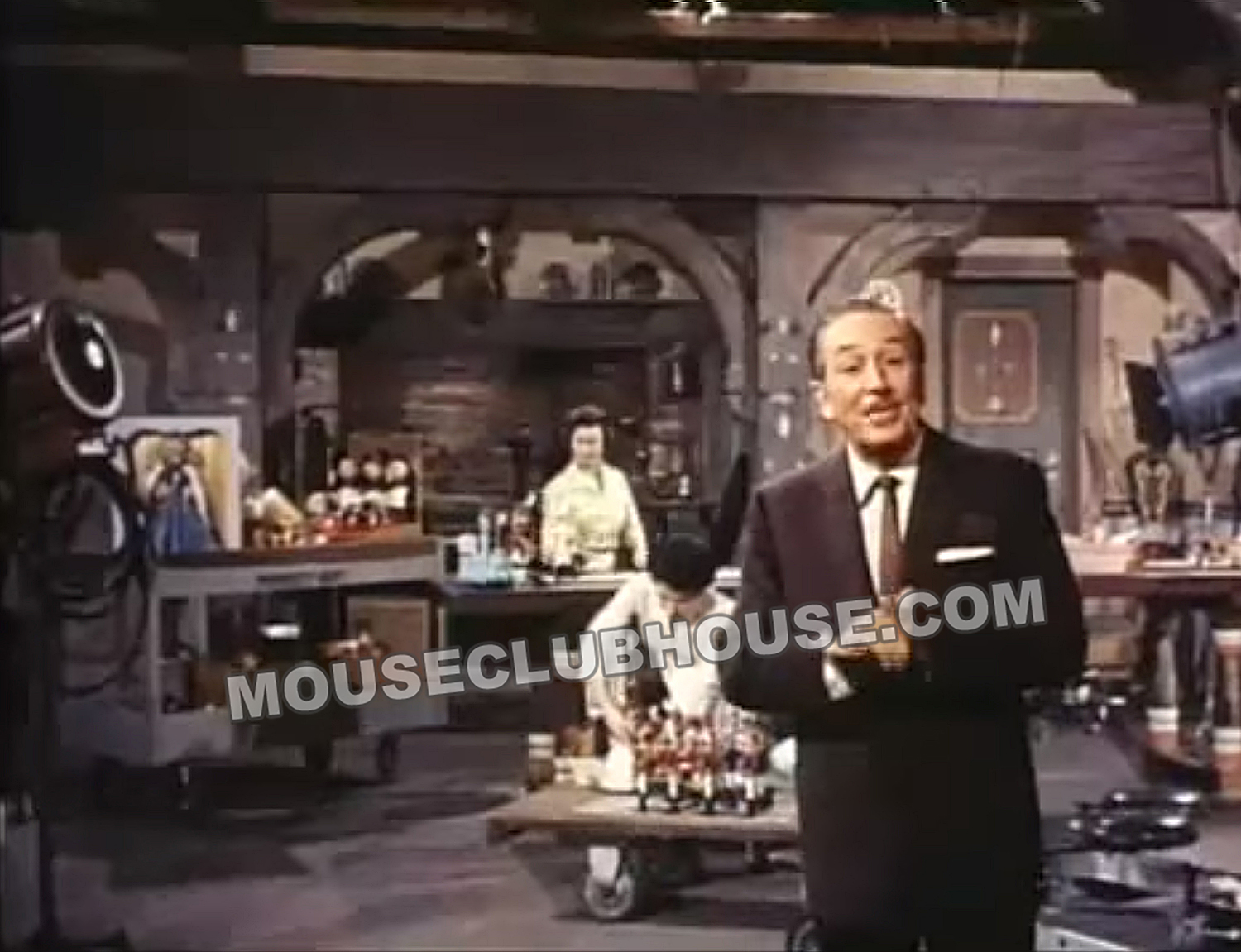 "Harriet burns sits behind Walt Disney in the ""Backstage Party"" episode of ""Walt Disney's Wonderful World of Color"""
