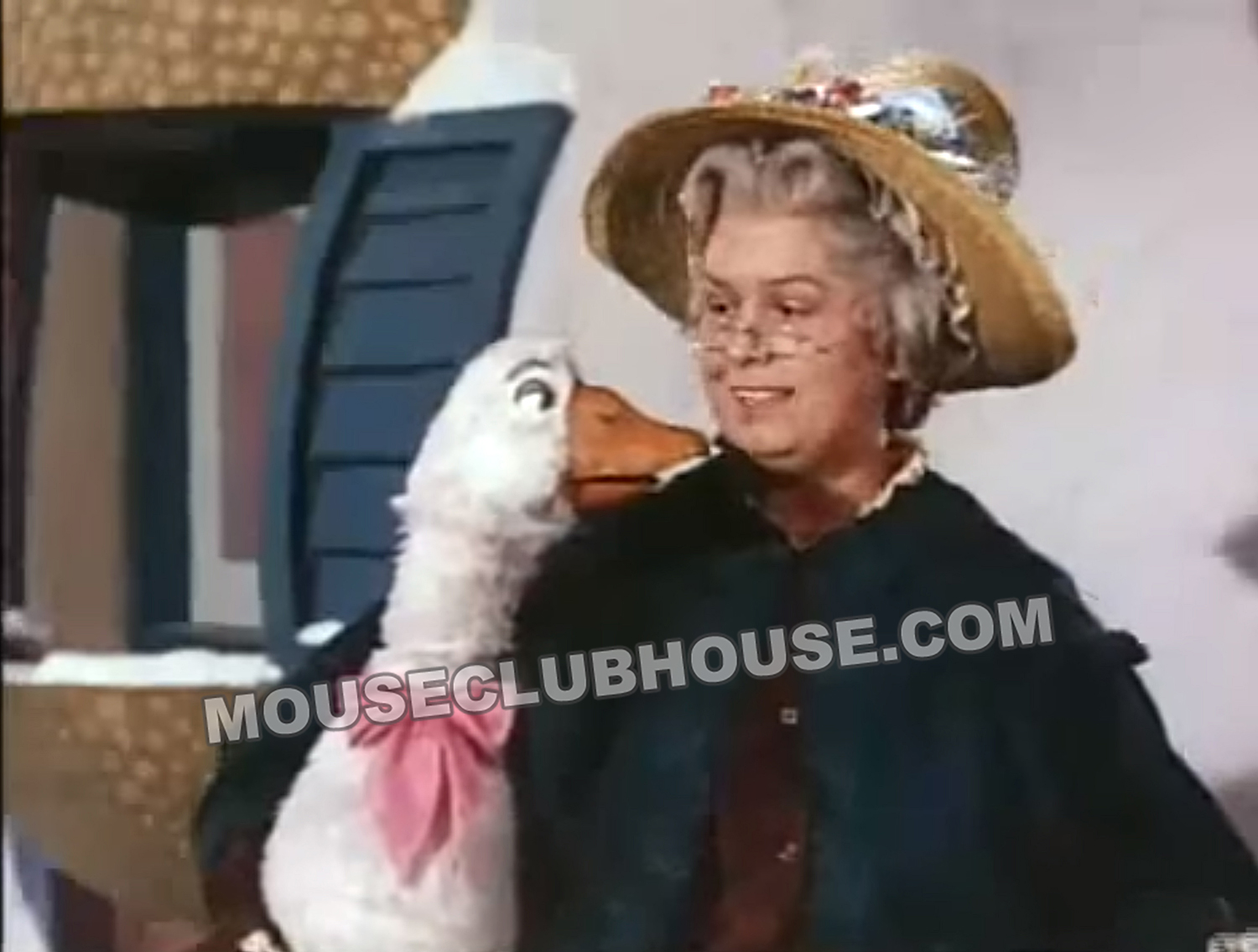 Mary McCarty appears as Mother Goose as Harriet operates her goose puppet for the close-up camera shots