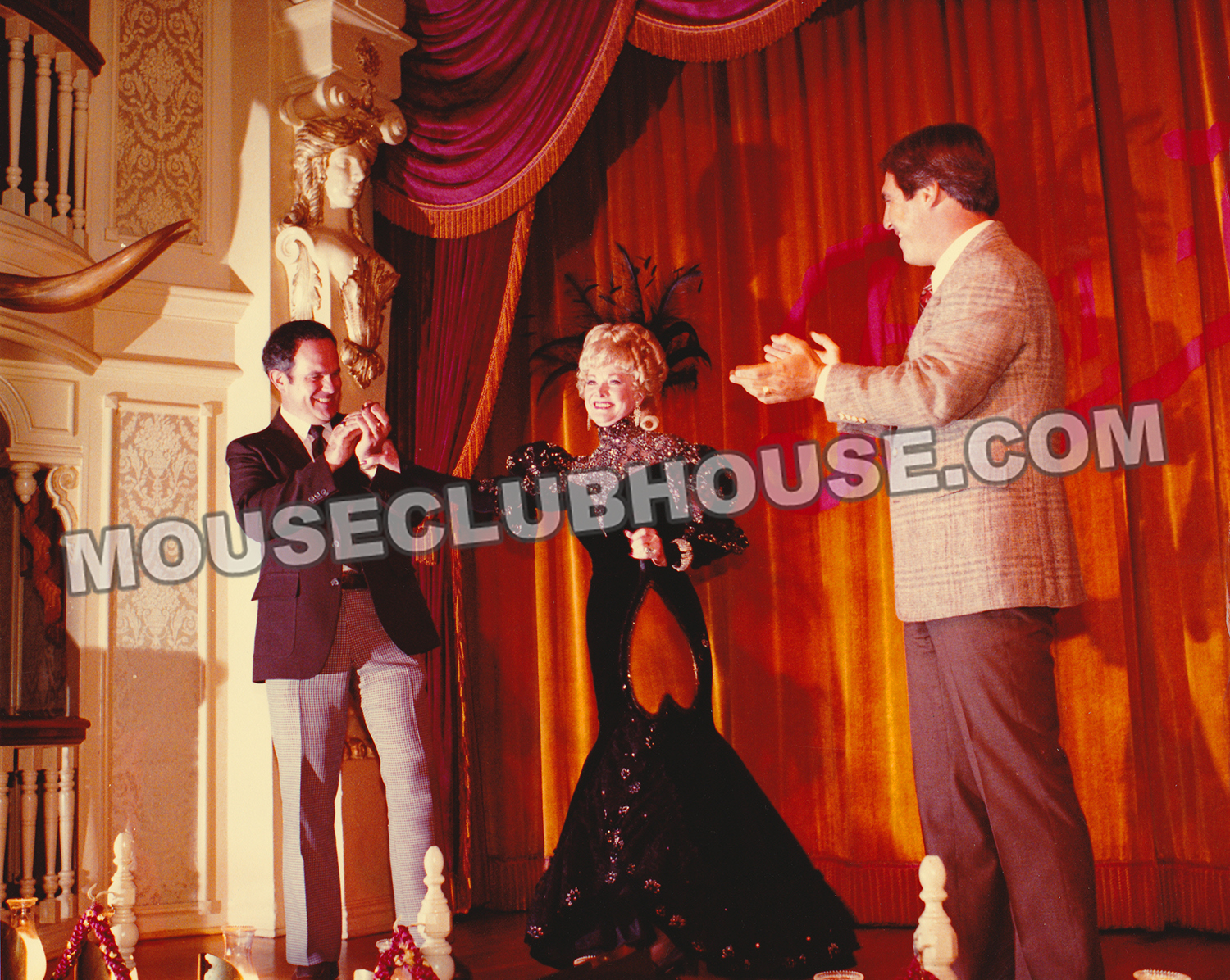 Ron Logan, Betty Taylor and Dennis Despie at the final performance of the Golden Horseshoe Revue at Disneyland