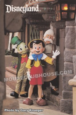 Jiminy Cricket, Pinocchio and Geppetto in Fantasyland, Disneyland postcard photo by Gary Krueger