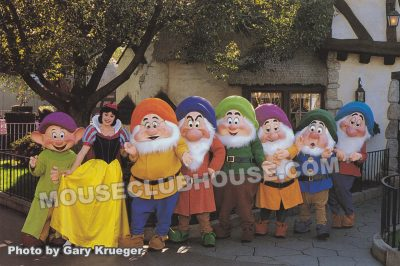 Snow White and the Seven Dwarfs in Fantasyland, Disneyland postcard photo by Gary Krueger