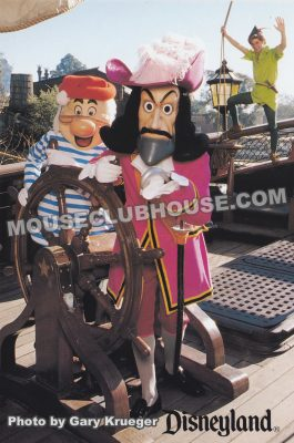 Mr. Smee and Captain Hook on the Chicken of the Sea Pirate Ship, Disneyland postcard photo by Gary Krueger