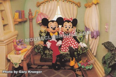 Mickey & Minnie in Mickey's Toontown, Disneyland postcard photo by Gary Krueger