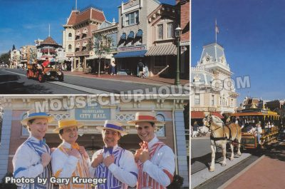 Main Street in Disneyland (Dapper Dans: Bill Lewis, Jim Schamp, Shelby Grimm and Jim Campbell, Disneyland postcard photo by Gary Krueger