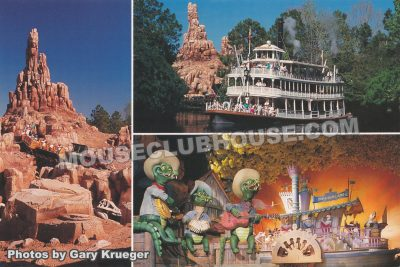 Frontierland attractions, Walt Disney World postcard photo by Gary Krueger