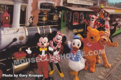 Characters at the Disneyland Railroad, Disneyland postcard photo by Gary Krueger