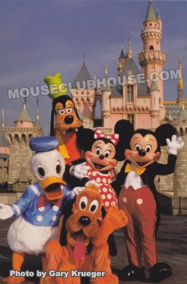 Mickey and the gang at Sleeping Beauty Castle, Disneyland postcard photo by Gary Krueger