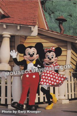 Mickey and Minnie in Mickey's Toontown, Disneyland postcard photo by Gary Krueger
