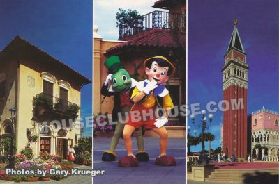Italy pavilion in Epcot, Walt Disney World postcard photo by Gary Krueger