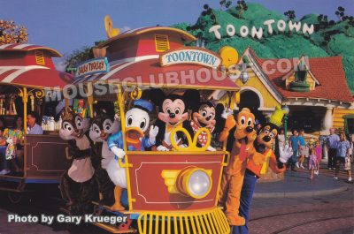 Mickey and the gang ride the Toontown Jolly Trolley, Disneyland postcard photo by Gary Krueger