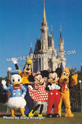 Mickey and the gang in front of Cinderella Castle, Walt Disney World postcard photo by Gary Krueger