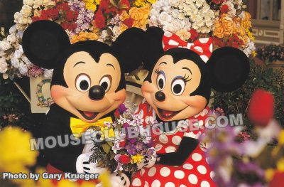 Romantic Mickey and Minnie on Main Street in the Magic Kingdom, Walt Disney World postcard photo by Gary Krueger