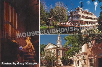 Liberty Square attractions, Walt Disney World postcard photo by Gary Krueger
