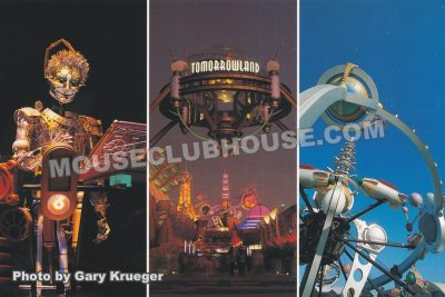Tomorrowland attractions, Walt Disney World postcard photo by Gary Krueger
