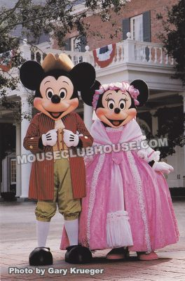 Mickey & MInnie in the American pavilion in Epcot, Walt Disney World postcard photo by Gary Krueger