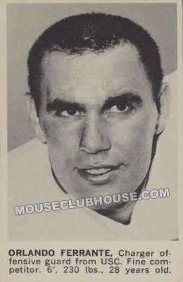 Orlando Ferrante football card from his days with the San Diego Chargers