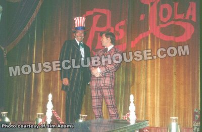 "Jim Adams shares a laugh with Disney Legend Fulton Burley in a bicentennial-themed version of the ""Golden Horseshoe Revue"""