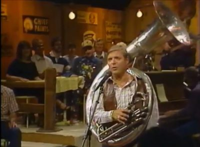 "With permission from his boss at Disney, Stan often appeared on the rural comedy TV series, ""Hee Haw., playing the tuba and singing his own compositions. Seen above, Stan appeared singing a song he wrote about Nashville burlesque club, Skull's Rainbow Room. This is just one of the stories that will be in ""Music, Mayhem, and Mouse."""