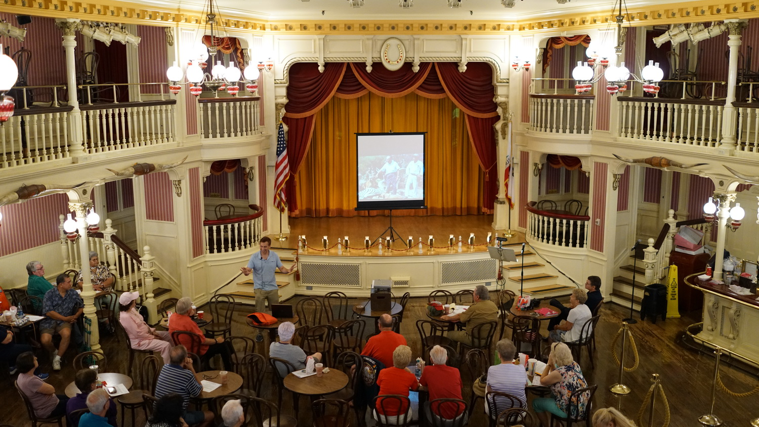Scott gives a talk in the Golden Horseshoe in Disneyland