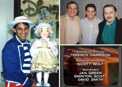 "Pictured, Scott doing an ""it's a small world"" presentation, and with Richard & Robert Sherman"